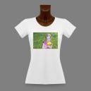 T-shirt slim Blanc pour dame, impression devant