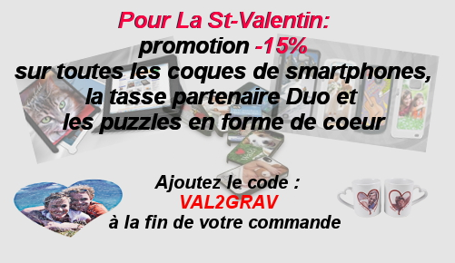 Promotion Gravilux St-Valentin, 15% sur les coques de Smartphones, tasse duo partenaire et puzzles coeurs